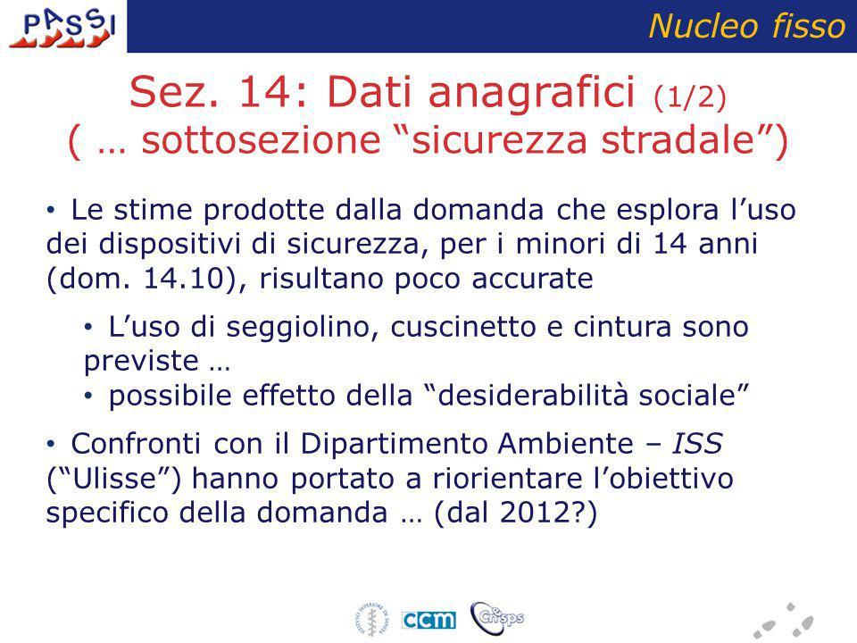 """Sez. 14: Dati anagrafici (1/2) ( … sottosezione """"sicurezza stradale"""") Nucleo fisso Le stime prodotte dalla domanda che esplora l'uso dei dispositivi d"""