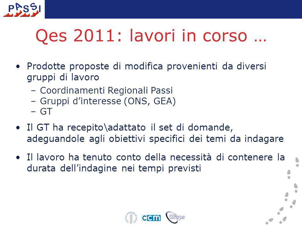 Qes 2011: lavori in corso … Prodotte proposte di modifica provenienti da diversi gruppi di lavoro –Coordinamenti Regionali Passi –Gruppi d'interesse (