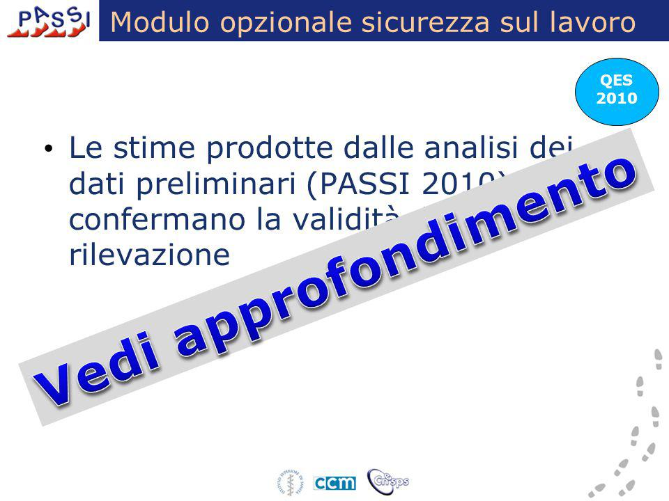 Modulo opzionale sicurezza sul lavoro QES 2010 Le stime prodotte dalle analisi dei dati preliminari (PASSI 2010) confermano la validità della rilevazi