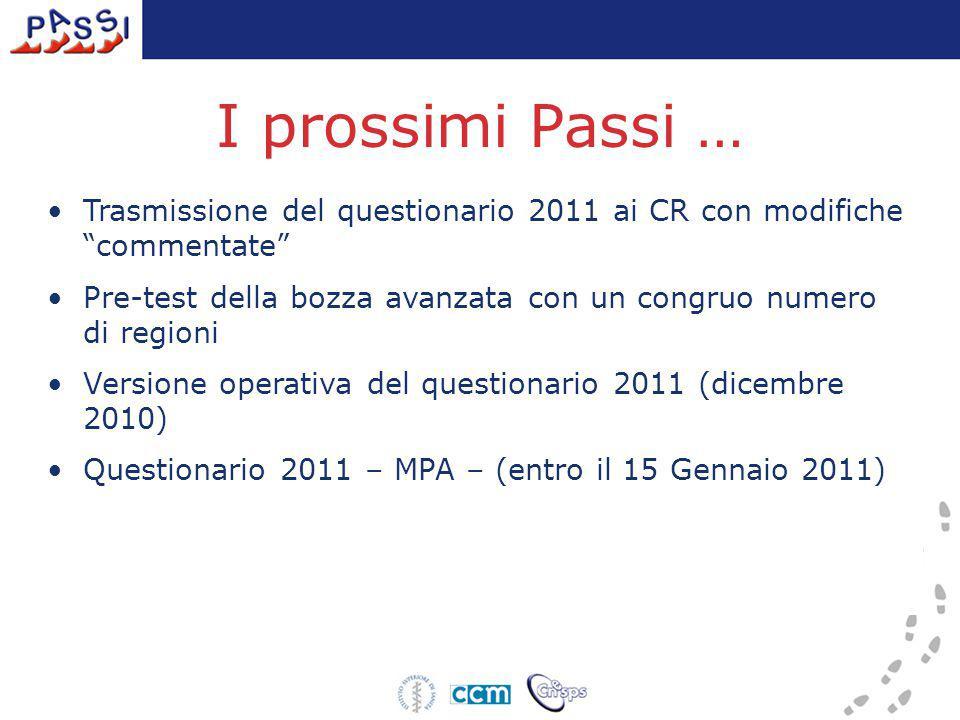 """I prossimi Passi … Trasmissione del questionario 2011 ai CR con modifiche """"commentate"""" Pre-test della bozza avanzata con un congruo numero di regioni"""