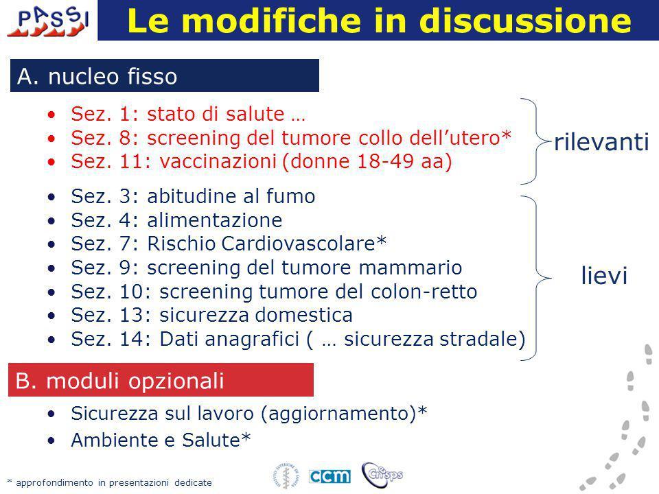 Le modifiche in discussione Sez. 1: stato di salute … Sez. 8: screening del tumore collo dell'utero* Sez. 11: vaccinazioni (donne 18-49 aa) Sez. 3: ab