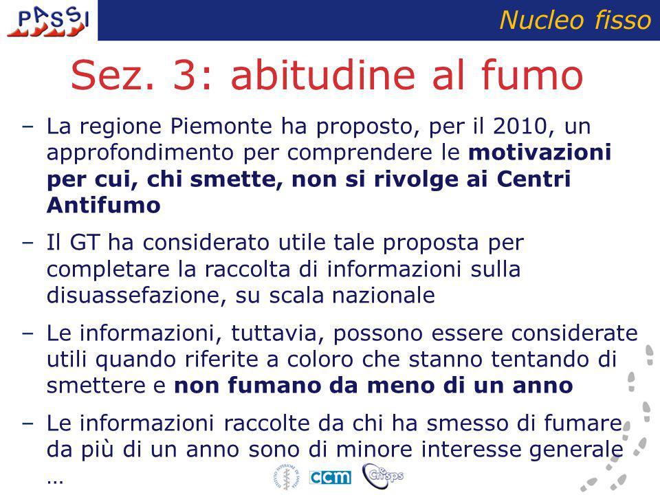 Sez. 3: abitudine al fumo –La regione Piemonte ha proposto, per il 2010, un approfondimento per comprendere le motivazioni per cui, chi smette, non si