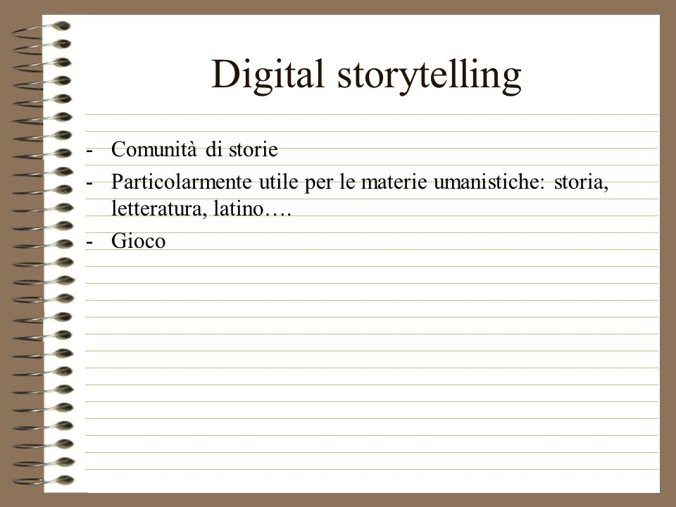 -Comunità di storie -Particolarmente utile per le materie umanistiche: storia, letteratura, latino….