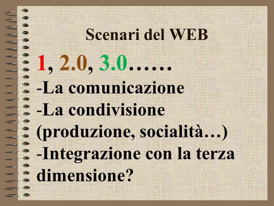 Scenari del WEB 1, 2.0, 3.0…… -La comunicazione -La condivisione (produzione, socialità…) -Integrazione con la terza dimensione