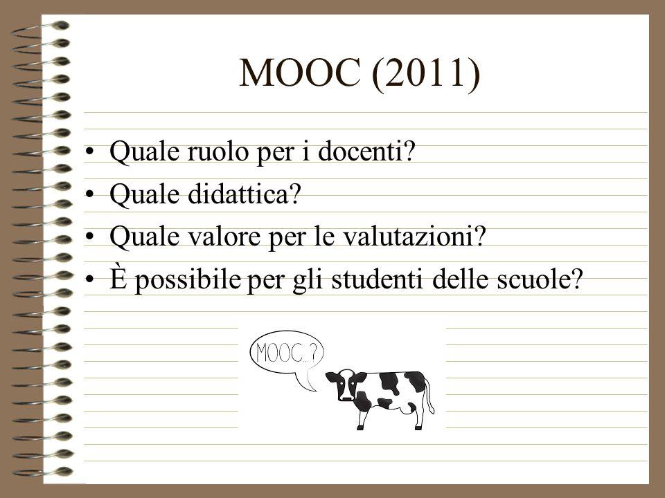 MOOC (2011) Quale ruolo per i docenti. Quale didattica.
