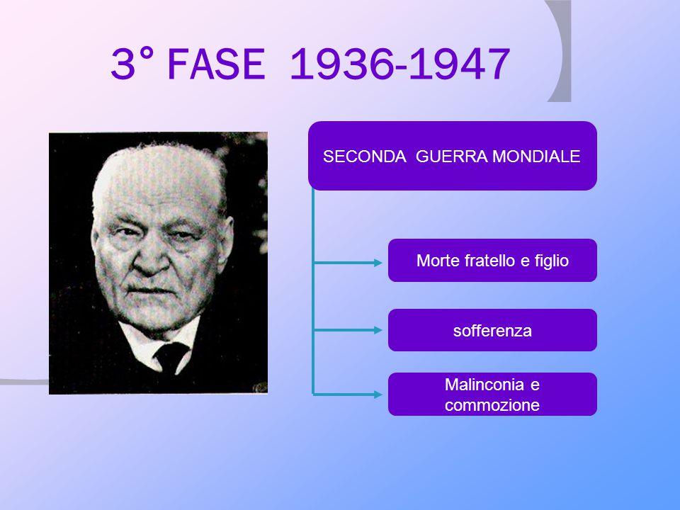 3° FASE 1936-1947 Morte fratello e figlio sofferenza Malinconia e commozione SECONDA GUERRA MONDIALE