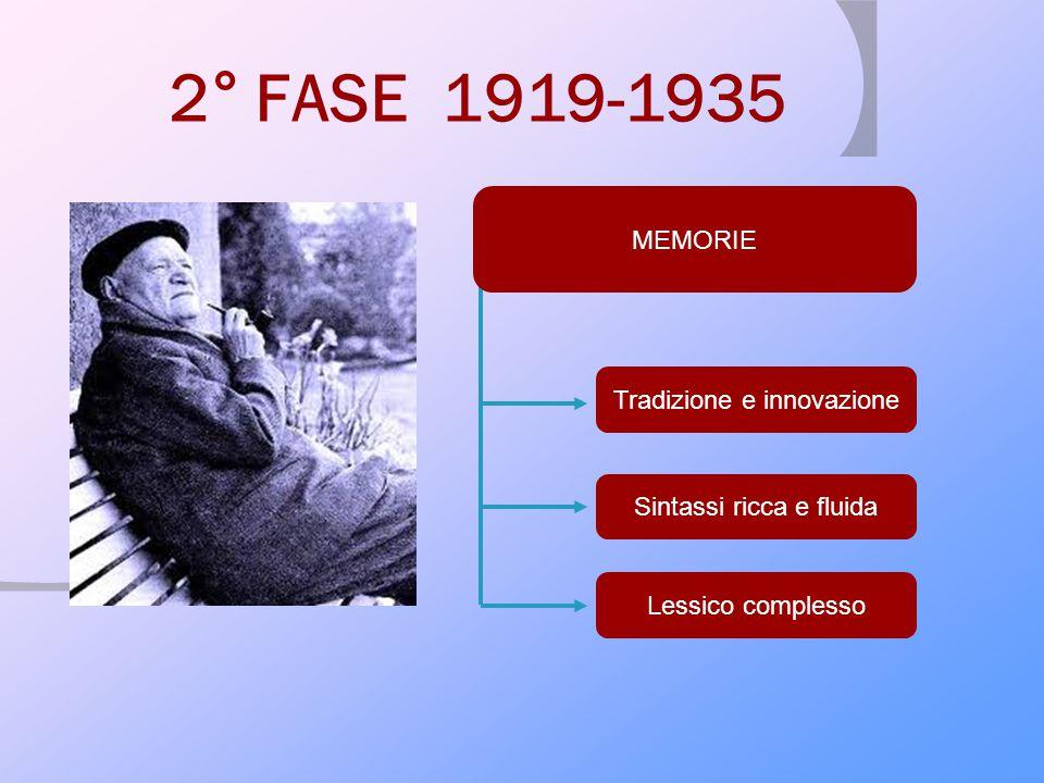 2° FASE 1919-1935 MEMORIE Tradizione e innovazione Sintassi ricca e fluida Lessico complesso