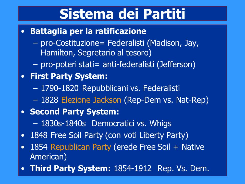 Sistema dei Partiti Battaglia per la ratificazione –pro-Costituzione= Federalisti (Madison, Jay, Hamilton, Segretario al tesoro) –pro-poteri stati= an