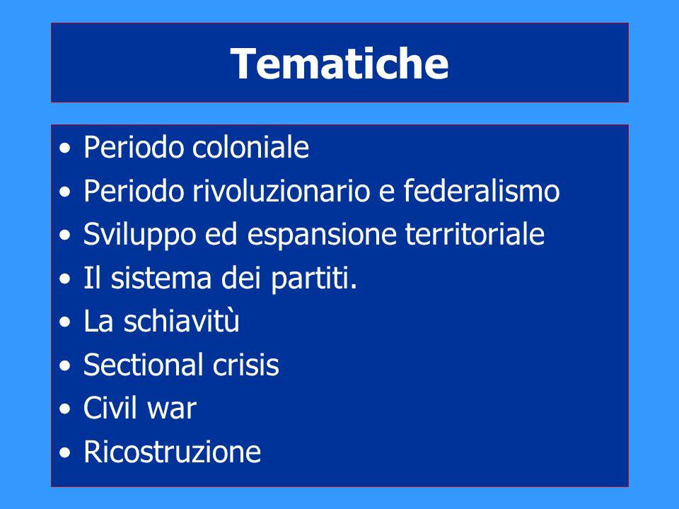 Tematiche Periodo coloniale Periodo rivoluzionario e federalismo Sviluppo ed espansione territoriale Il sistema dei partiti. La schiavitù Sectional cr
