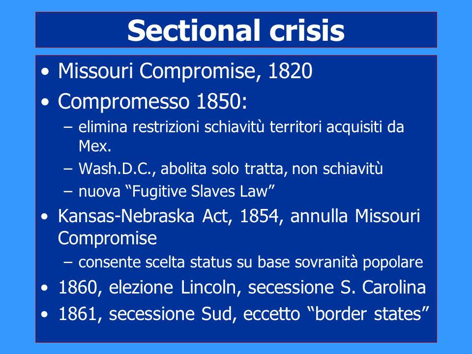 Sectional crisis Missouri Compromise, 1820 Compromesso 1850: –elimina restrizioni schiavitù territori acquisiti da Mex. –Wash.D.C., abolita solo tratt