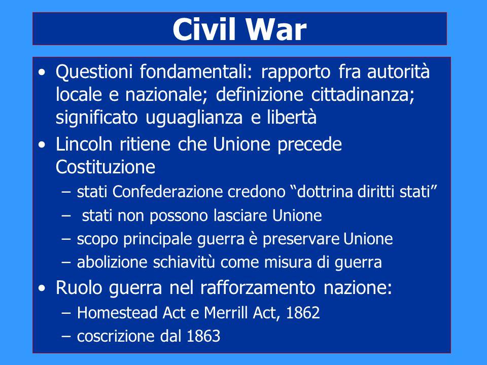 Civil War Questioni fondamentali: rapporto fra autorità locale e nazionale; definizione cittadinanza; significato uguaglianza e libertà Lincoln ritien
