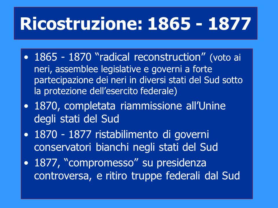 """Ricostruzione: 1865 - 1877 1865 - 1870 """"radical reconstruction"""" (voto ai neri, assemblee legislative e governi a forte partecipazione dei neri in dive"""