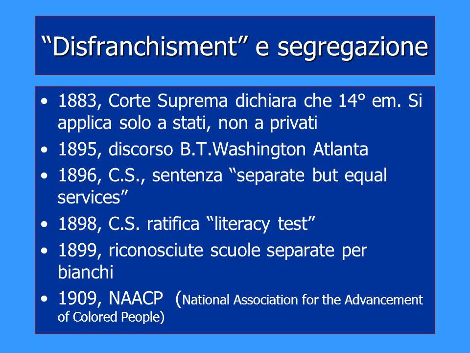 """""""Disfranchisment"""" e segregazione 1883, Corte Suprema dichiara che 14° em. Si applica solo a stati, non a privati 1895, discorso B.T.Washington Atlanta"""