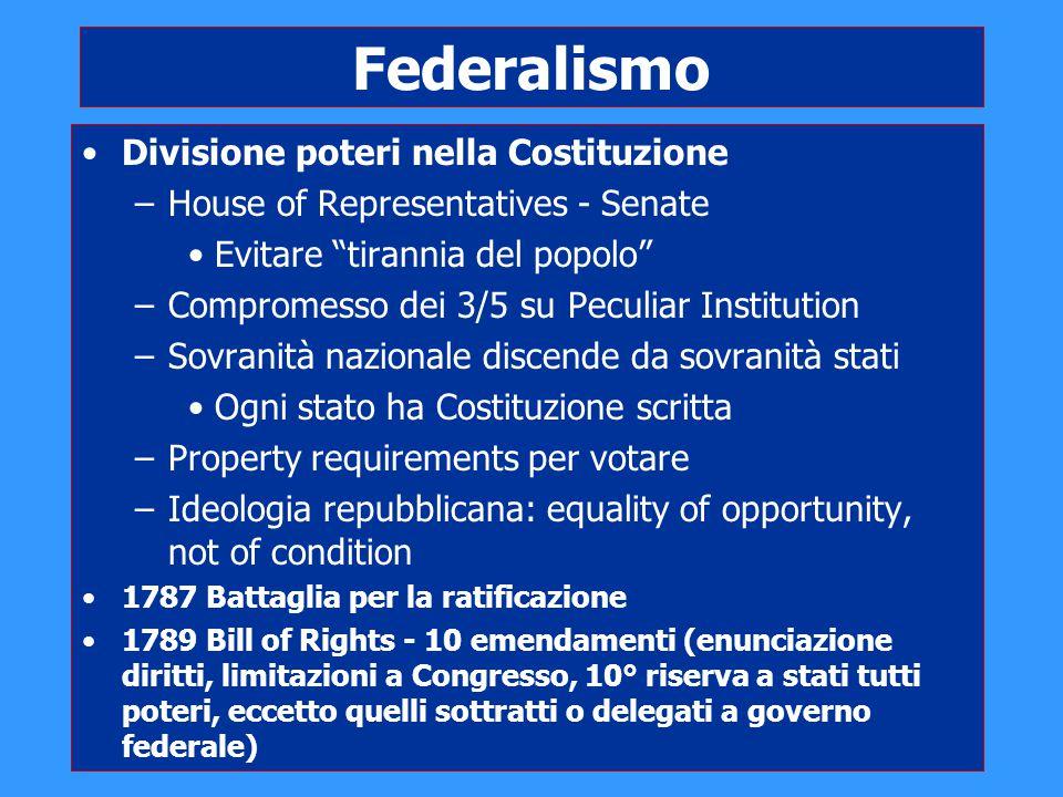 """Federalismo Divisione poteri nella Costituzione –House of Representatives - Senate Evitare """"tirannia del popolo"""" –Compromesso dei 3/5 su Peculiar Inst"""