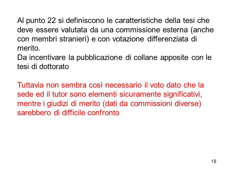 19 Al punto 22 si definiscono le caratteristiche della tesi che deve essere valutata da una commissione esterna (anche con membri stranieri) e con votazione differenziata di merito.
