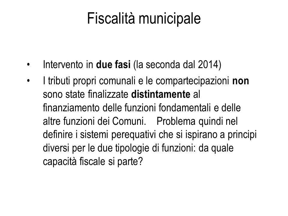 Intervento in due fasi (la seconda dal 2014) I tributi propri comunali e le compartecipazioni non sono state finalizzate distintamente al finanziamento delle funzioni fondamentali e delle altre funzioni dei Comuni.