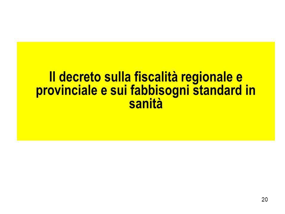 20 Il decreto sulla fiscalità regionale e provinciale e sui fabbisogni standard in sanità
