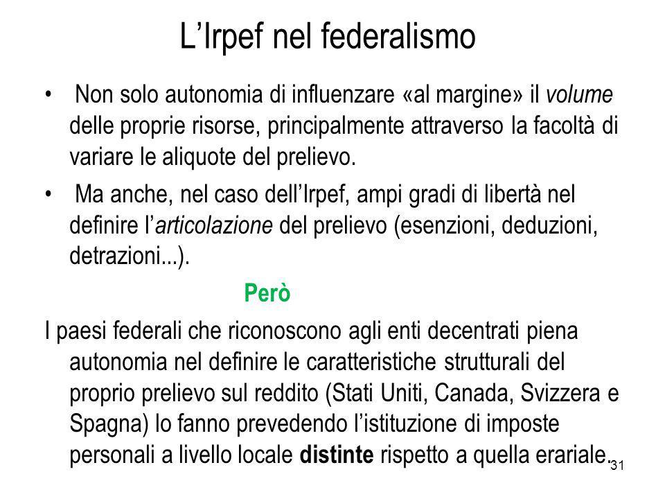 L'Irpef nel federalismo Non solo autonomia di influenzare «al margine» il volume delle proprie risorse, principalmente attraverso la facoltà di variare le aliquote del prelievo.