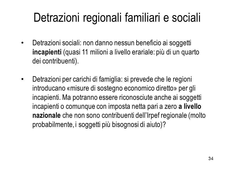 34 Detrazioni sociali: non danno nessun beneficio ai soggetti incapienti (quasi 11 milioni a livello erariale: più di un quarto dei contribuenti).