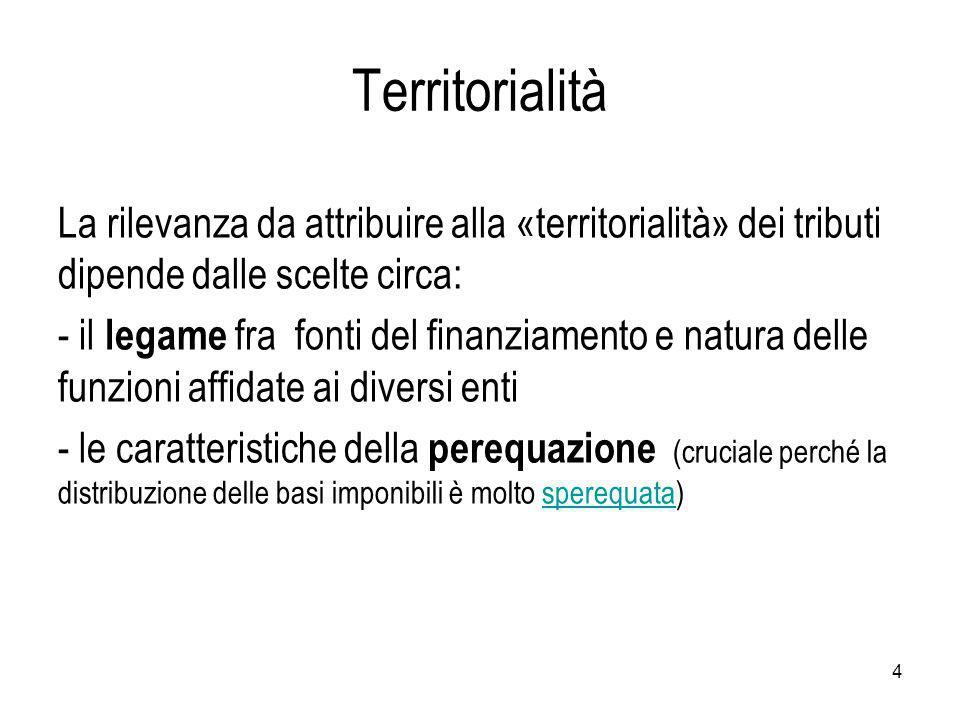 Territorialità La rilevanza da attribuire alla «territorialità» dei tributi dipende dalle scelte circa: - il legame fra fonti del finanziamento e natura delle funzioni affidate ai diversi enti - le caratteristiche della perequazione (cruciale perché la distribuzione delle basi imponibili è molto sperequata)sperequata 4