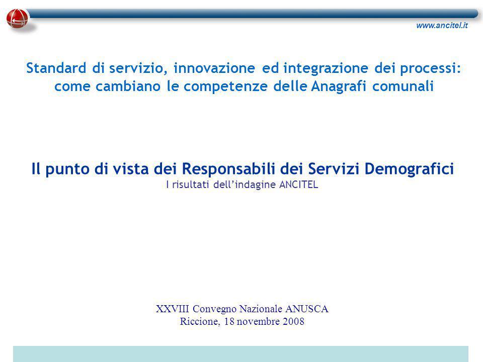 www.ancitel.it Come valuta l'integrazione informatica tra procedure anagrafiche e altri enti della PA.