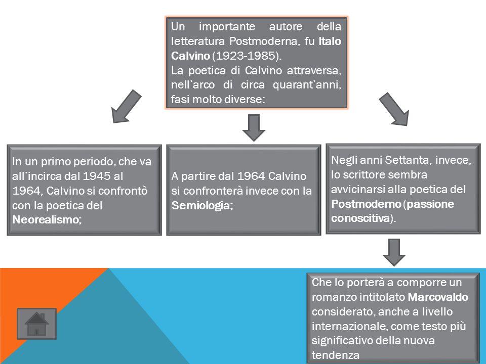 Un importante autore della letteratura Postmoderna, fu Italo Calvino (1923-1985). La poetica di Calvino attraversa, nell'arco di circa quarant'anni, f