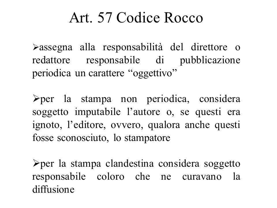 """Art. 57 Codice Rocco  assegna alla responsabilità del direttore o redattore responsabile di pubblicazione periodica un carattere """"oggettivo""""  per la"""