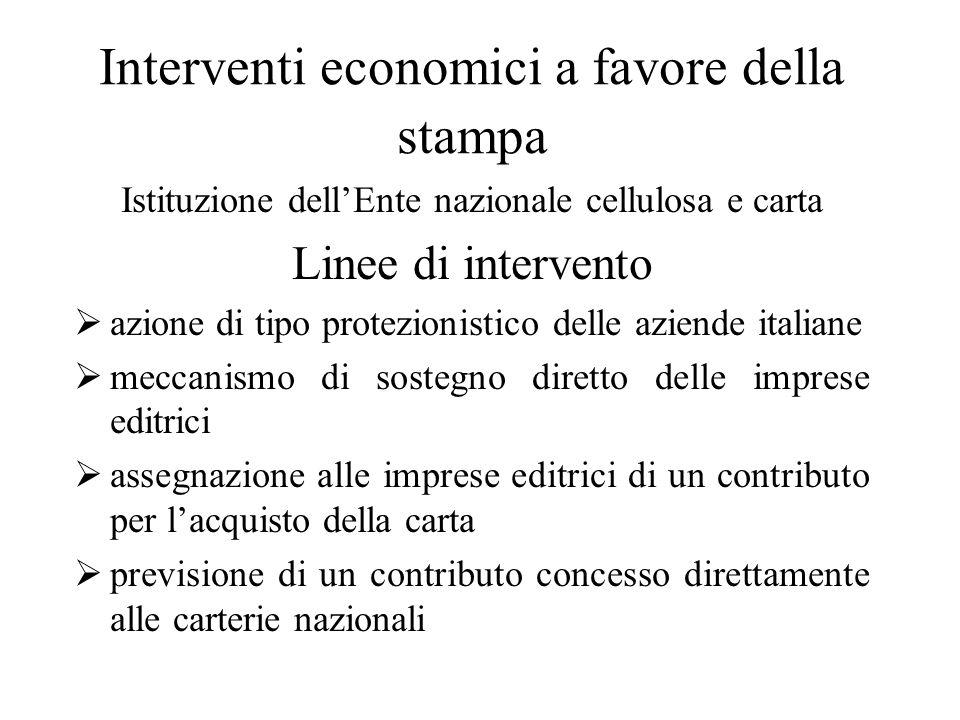 Interventi economici a favore della stampa Istituzione dell'Ente nazionale cellulosa e carta Linee di intervento  azione di tipo protezionistico dell