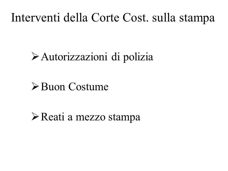 Interventi della Corte Cost. sulla stampa  Autorizzazioni di polizia  Buon Costume  Reati a mezzo stampa