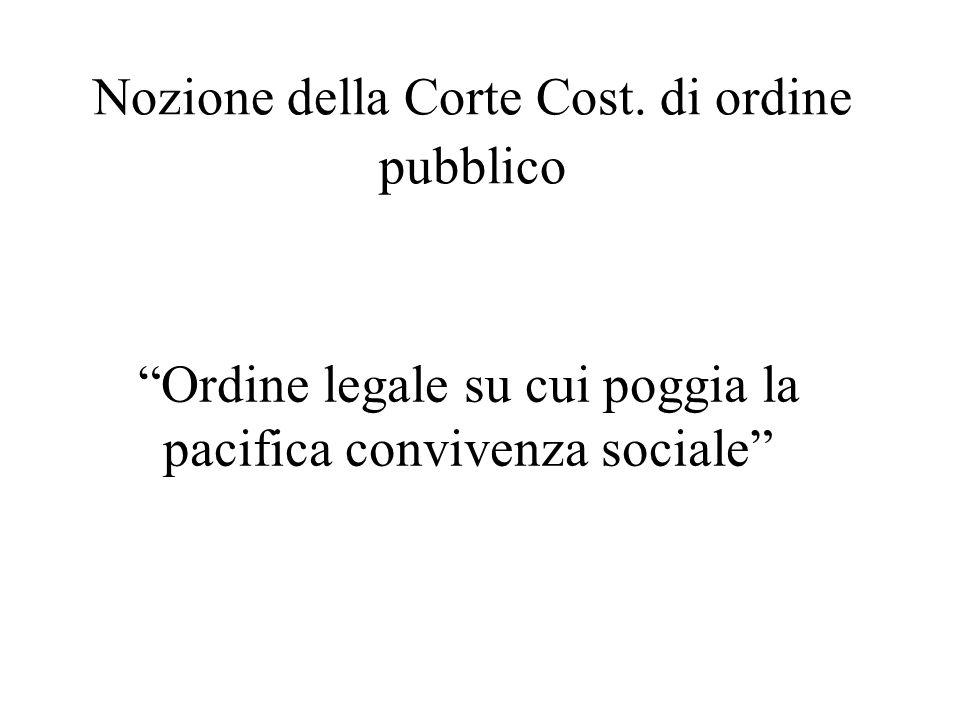 """Nozione della Corte Cost. di ordine pubblico """"Ordine legale su cui poggia la pacifica convivenza sociale"""""""