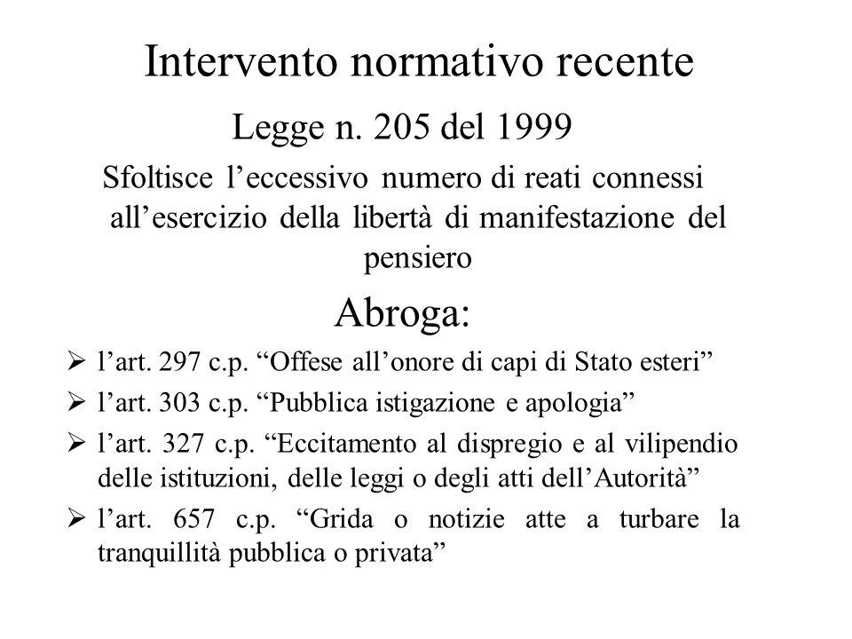 Intervento normativo recente Legge n. 205 del 1999 Sfoltisce l'eccessivo numero di reati connessi all'esercizio della libertà di manifestazione del pe