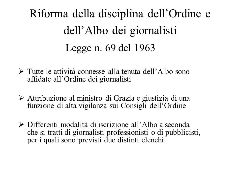 Riforma della disciplina dell'Ordine e dell'Albo dei giornalisti Legge n. 69 del 1963  Tutte le attività connesse alla tenuta dell'Albo sono affidate