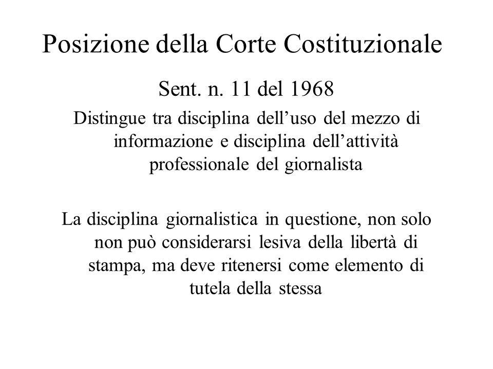 Posizione della Corte Costituzionale Sent. n. 11 del 1968 Distingue tra disciplina dell'uso del mezzo di informazione e disciplina dell'attività profe