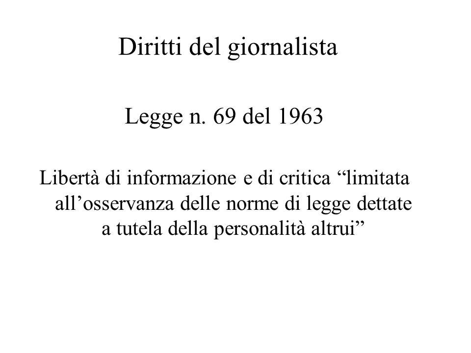 """Diritti del giornalista Legge n. 69 del 1963 Libertà di informazione e di critica """"limitata all'osservanza delle norme di legge dettate a tutela della"""