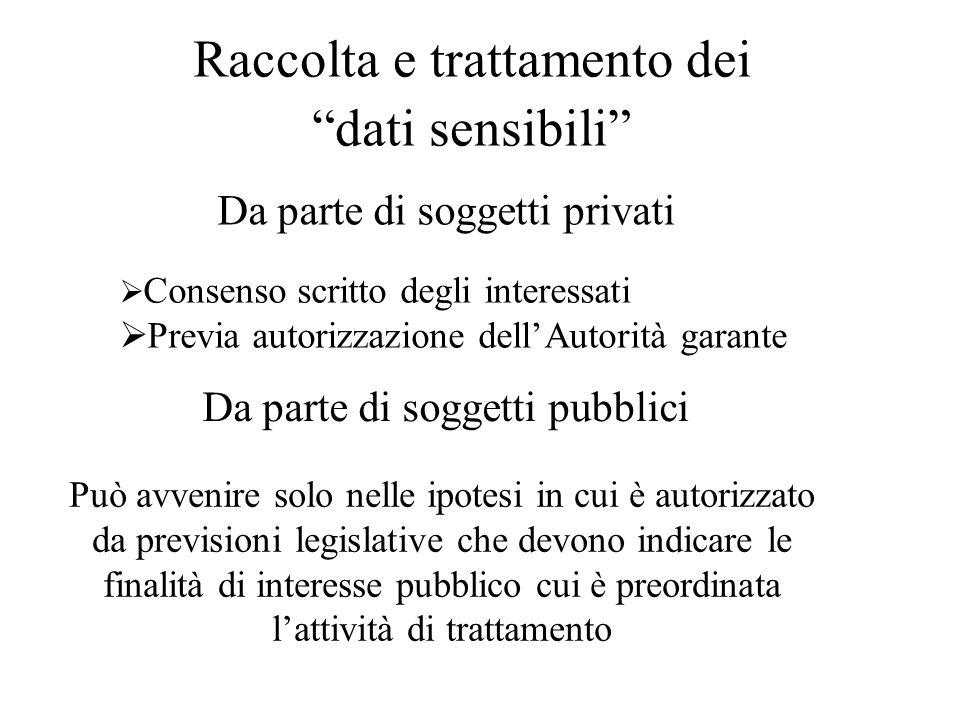 """Raccolta e trattamento dei """"dati sensibili"""" Da parte di soggetti privati  Consenso scritto degli interessati  Previa autorizzazione dell'Autorità ga"""