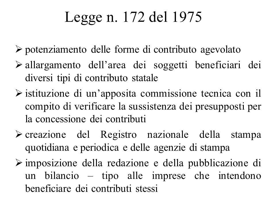 Legge n. 172 del 1975  potenziamento delle forme di contributo agevolato  allargamento dell'area dei soggetti beneficiari dei diversi tipi di contri