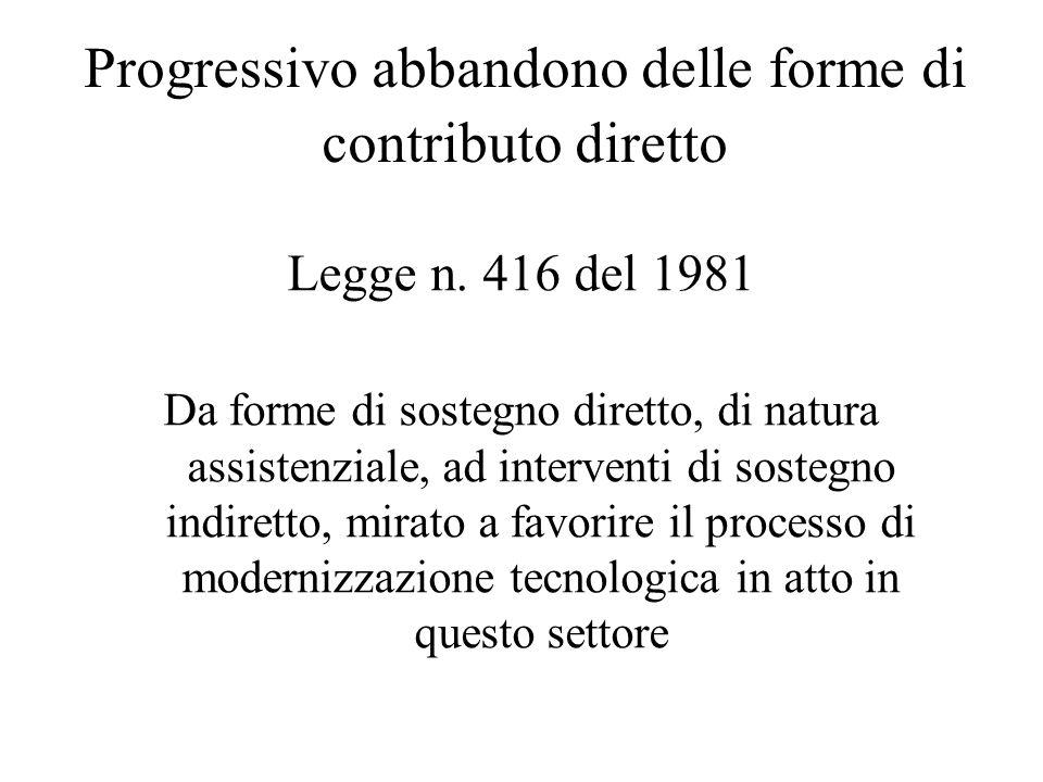 Progressivo abbandono delle forme di contributo diretto Legge n. 416 del 1981 Da forme di sostegno diretto, di natura assistenziale, ad interventi di