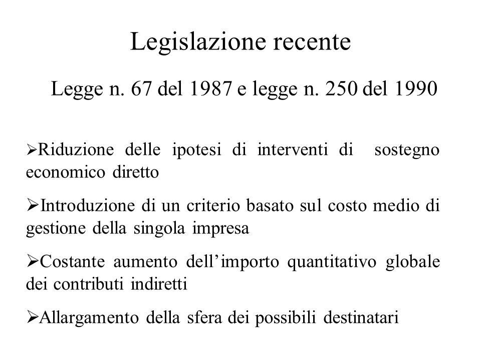 Legge n. 67 del 1987 e legge n. 250 del 1990 Legislazione recente  Riduzione delle ipotesi di interventi di sostegno economico diretto  Introduzione