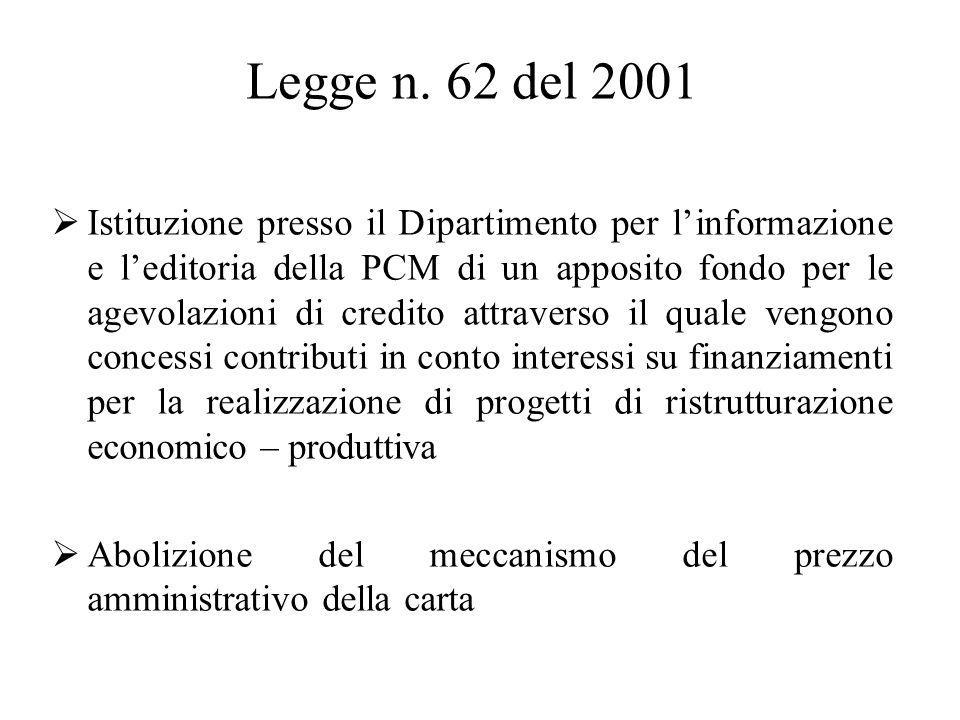 Legge n. 62 del 2001  Istituzione presso il Dipartimento per l'informazione e l'editoria della PCM di un apposito fondo per le agevolazioni di credit