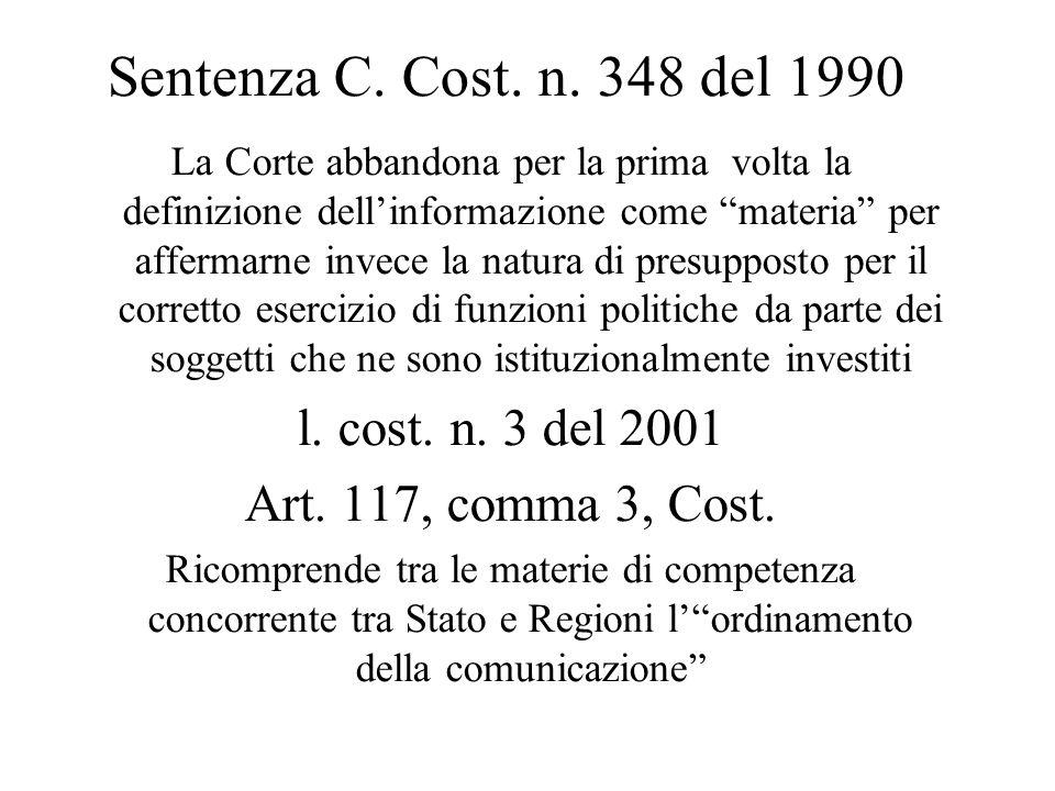 """Sentenza C. Cost. n. 348 del 1990 La Corte abbandona per la prima volta la definizione dell'informazione come """"materia"""" per affermarne invece la natur"""