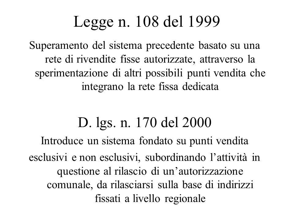 Legge n. 108 del 1999 Superamento del sistema precedente basato su una rete di rivendite fisse autorizzate, attraverso la sperimentazione di altri pos