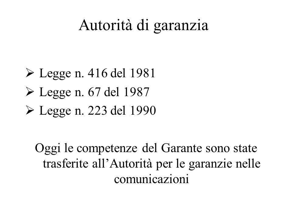 Autorità di garanzia  Legge n. 416 del 1981  Legge n. 67 del 1987  Legge n. 223 del 1990 Oggi le competenze del Garante sono state trasferite all'A
