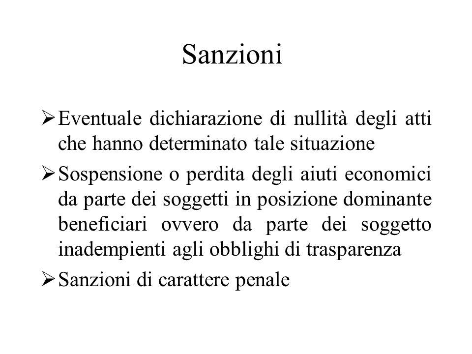 Sanzioni  Eventuale dichiarazione di nullità degli atti che hanno determinato tale situazione  Sospensione o perdita degli aiuti economici da parte