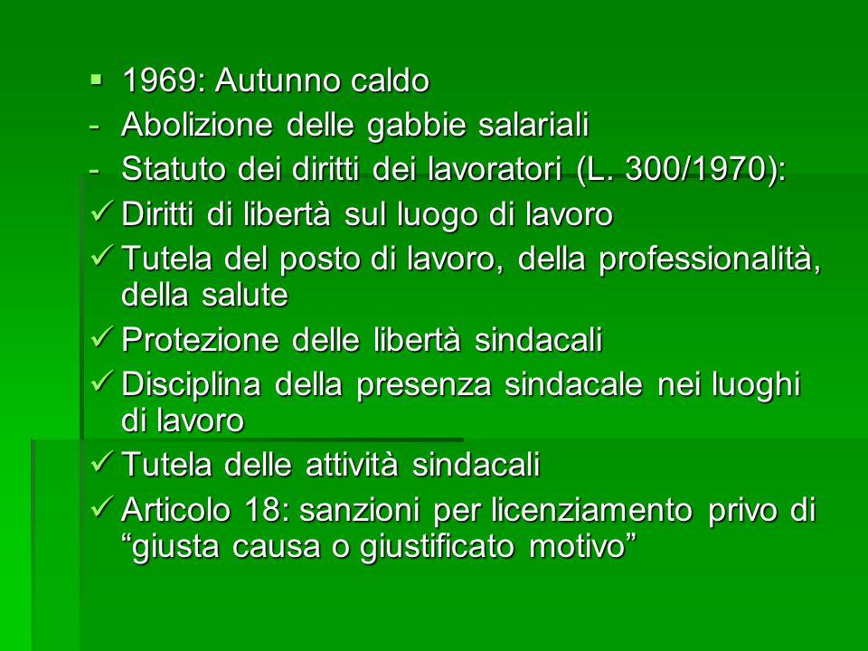  1969: Autunno caldo -Abolizione delle gabbie salariali -Statuto dei diritti dei lavoratori (L. 300/1970): Diritti di libertà sul luogo di lavoro Dir