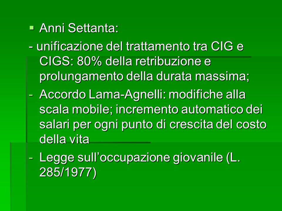  Anni Settanta: - unificazione del trattamento tra CIG e CIGS: 80% della retribuzione e prolungamento della durata massima; -Accordo Lama-Agnelli: mo