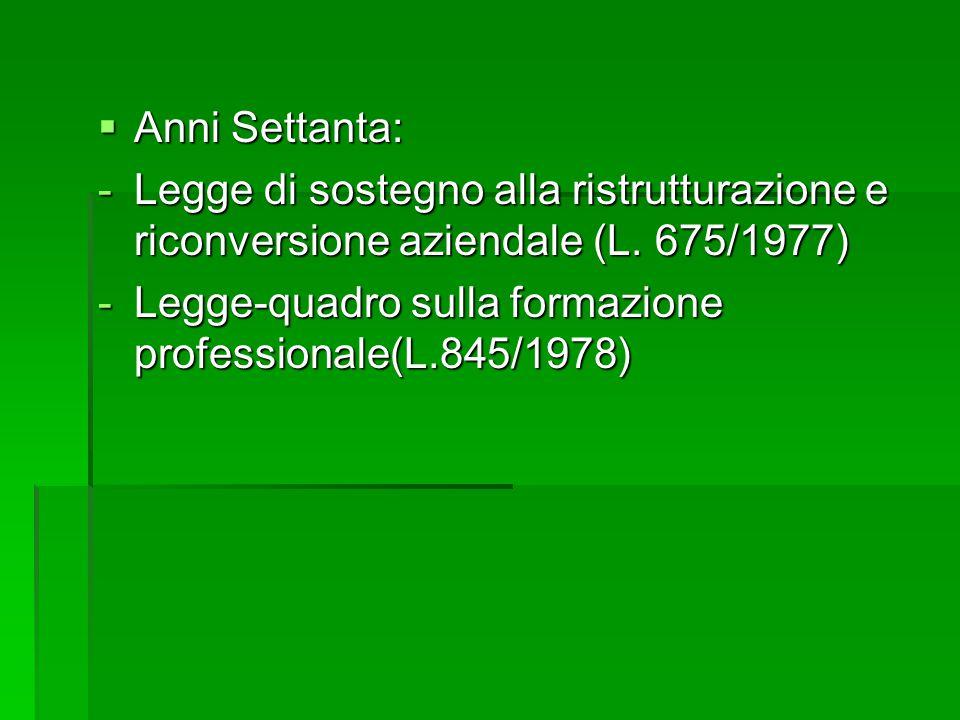  Anni Settanta: -Legge di sostegno alla ristrutturazione e riconversione aziendale (L. 675/1977) -Legge-quadro sulla formazione professionale(L.845/1