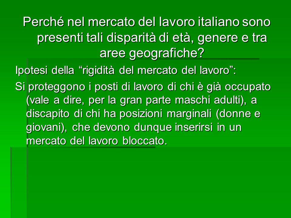 """Perché nel mercato del lavoro italiano sono presenti tali disparità di età, genere e tra aree geografiche? Ipotesi della """"rigidità del mercato del lav"""