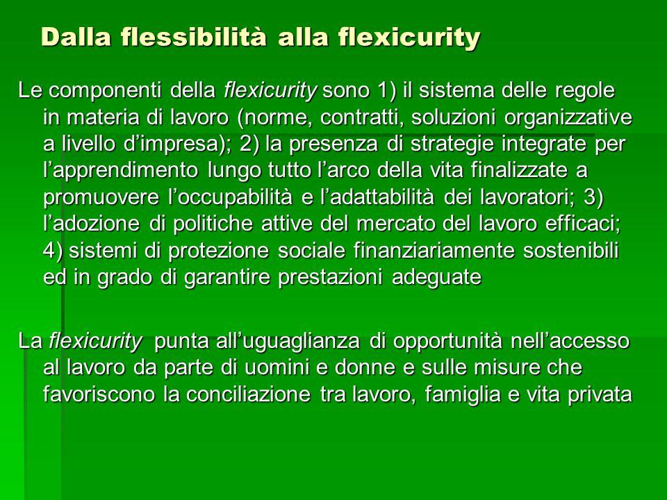 Dalla flessibilità alla flexicurity Le componenti della flexicurity sono 1) il sistema delle regole in materia di lavoro (norme, contratti, soluzioni