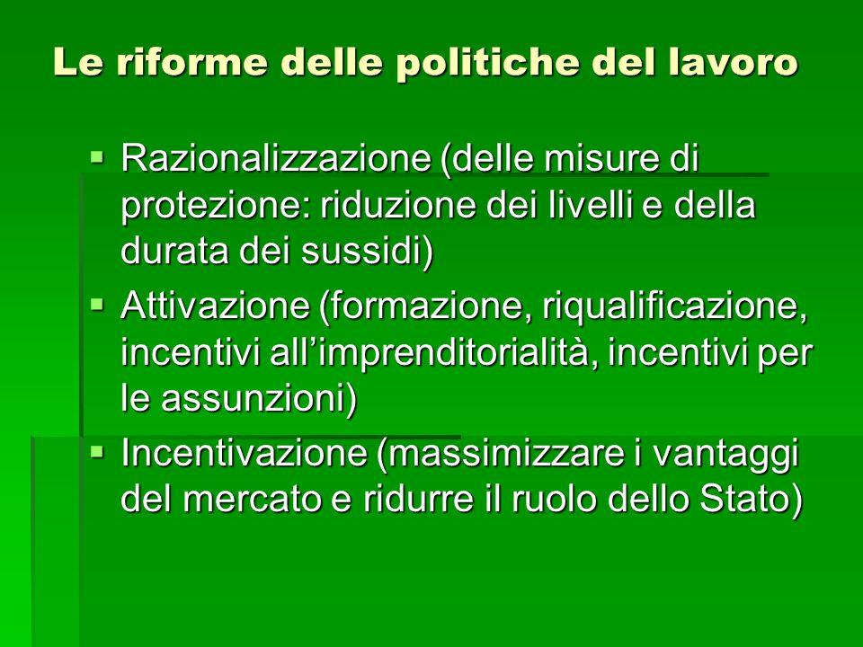 Le riforme delle politiche del lavoro  Razionalizzazione (delle misure di protezione: riduzione dei livelli e della durata dei sussidi)  Attivazione