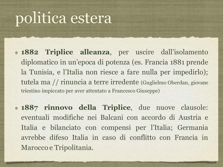 politica estera 1882 Triplice alleanza, per uscire dall'isolamento diplomatico in un'epoca di potenza (es.